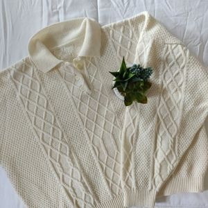 VINTAGE CABLE KNIT CROP SWEATER